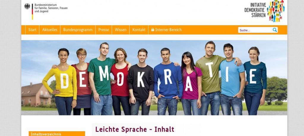 Bildschirmfoto von demokratie-staerken.de