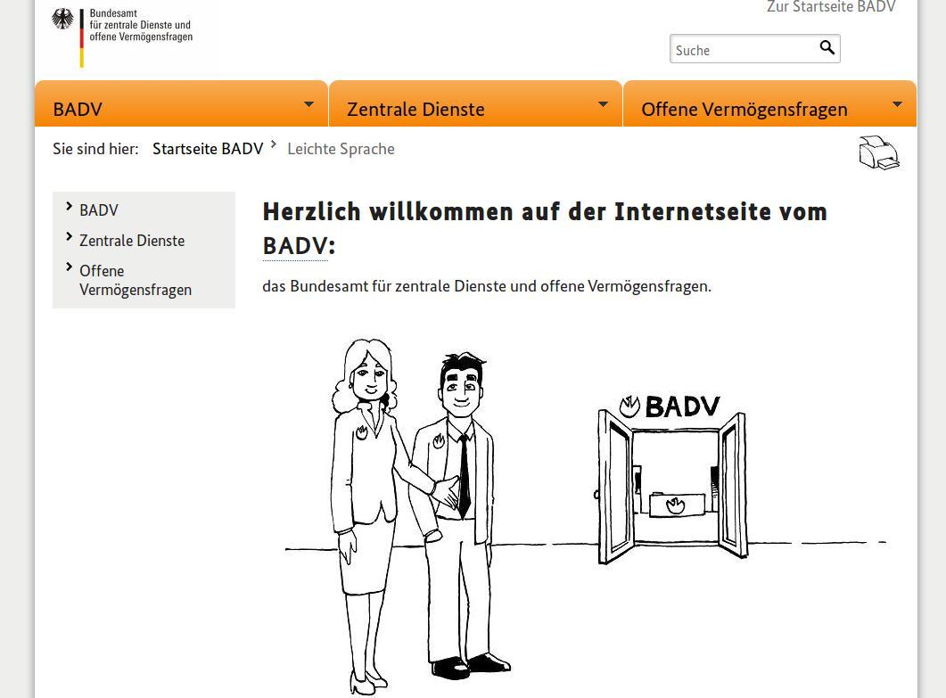 Bildschirmfoto von www.badv.bund.de