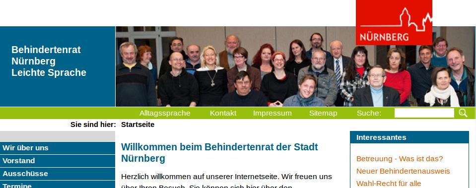 Bildschirmfoto von www.nuernberg.de