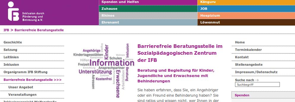 Bildschirmfoto von www.ifb-stiftung.de